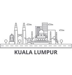 Kuala lumpur malaysia architecture line skyline vector