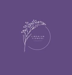 Limonium babys breath logo and branch logo and vector