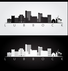 lubbock usa skyline and landmarks silhouette vector image