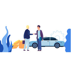 man buying car contract sale business vector image