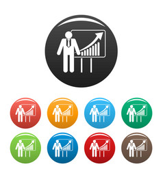 man with diagram icons set color vector image