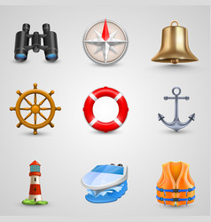 Marine set icons vector