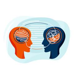 Mental health two humans head vector