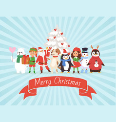 merry christmas and friends on retro stripped vector image