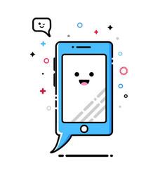 mobile phone mbe style kawaii icon vector image