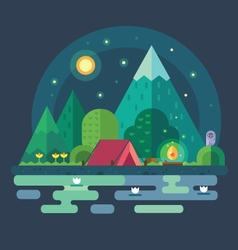 Night landscape in the mountains vector image