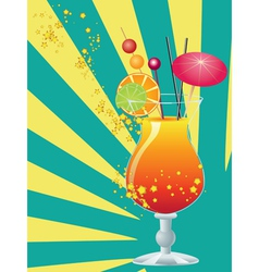 Orange cocktail with decorations vector