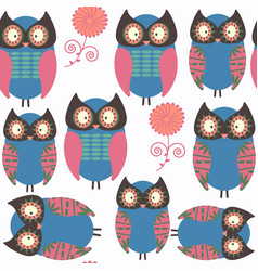 owls abstract nature animals seamless pattern it vector image
