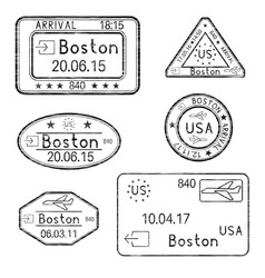 passport stamps arrival to boston usa black set vector image