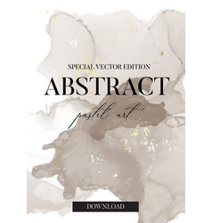 Pastel grey and gold foil abstract brush strokes vector