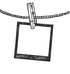 photo pin on rope engraving vector image
