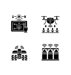 Precision agriculture black glyph icons set vector