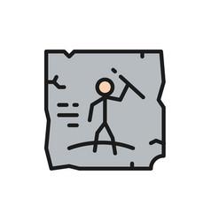 Prehistoric drawings cave painting rock art flat vector