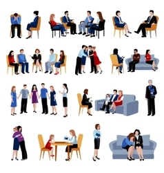 Problematic families counseling flat icons set vector