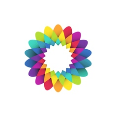 Rainbow flower logo vector image