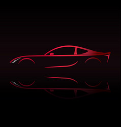 Red sports car silhouette on black background vector