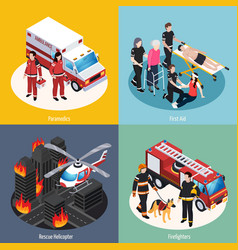 Rescue team 2x2 design concept vector