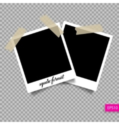 Retro square polaroid photo frame template vector
