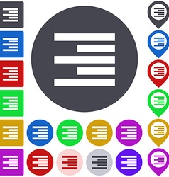 Right Alignment Icon Set vector