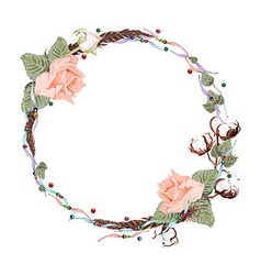 Rose and cotton wreath2 vector