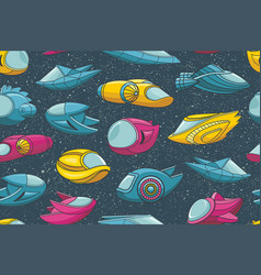 seamless pattern with spacecrafts and stars vector image