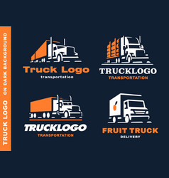 set four logo with truck and trailer vector image