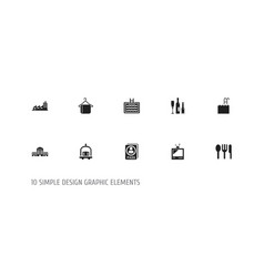 Set of 10 editable motel icons includes symbols vector