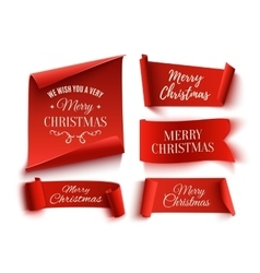 Set of five red merry christmas realistic paper vector