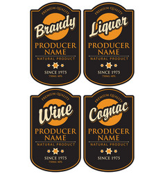 set of retro labels for various alcohol beverages vector image