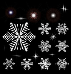 Set of snow-flakes and flashing outbreaks vector