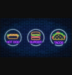 Set of three neon glowing signs of burger hot dog vector