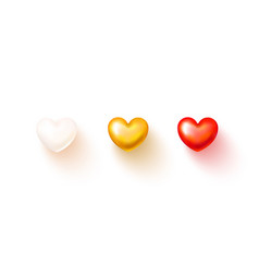 set realistic hearts isolated on transparent vector image