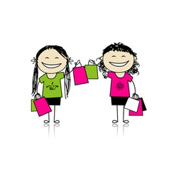 Shopping with friends Girls with bags vector