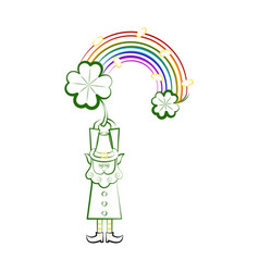 Sketch of a irish elf with a rainbow and clovers vector