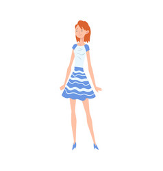 smiling red haired girl wearing blue and white vector image