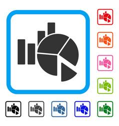Statistics framed icon vector