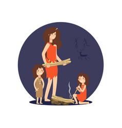 stone age woman and girls get fire vector image