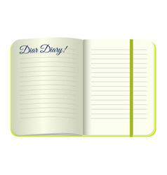 Template open a blank notepad with words dear vector