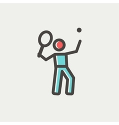 Tennis player in serving position thin line icon vector image