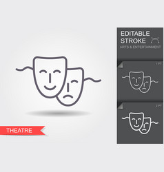theatrical mask line icon with shadow and vector image