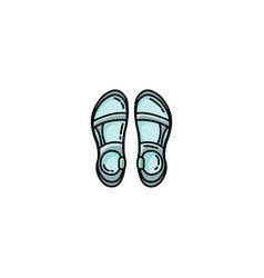 Trekking sandals flat icon vector