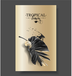 tropic banana leaf black and gold banners vector image