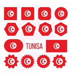 tunisia flag collection figure icons set vector image