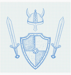 viking armor set - helmet shield and swords hand vector image