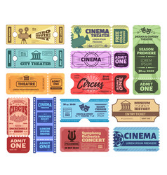 vintage tickets admit one ticket on circus show vector image