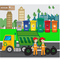 waste recycing infographic and green ecology vector image