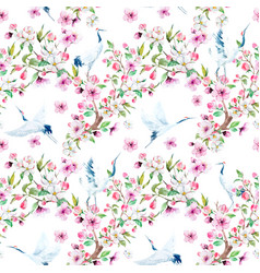 watercolor crane with flowers pattern vector image vector image