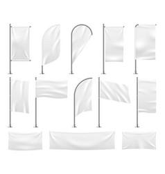White flags set blank banner mockup empty waving vector