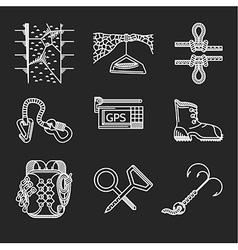 White line icons for rock climbing outfit vector image