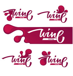 Wine tasting red wine and lettering composition vector